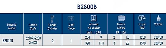 Caratteristiche testata ABAC B2800B.