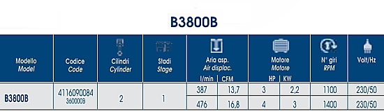 Caratteristiche testata ABAC B3800B.