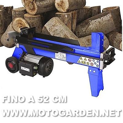 Spaccalegna 5 tonnellate, tipo orizzontale, in acciaio con motore elettrico professionale.