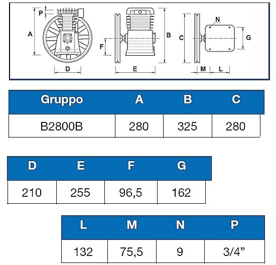 Misure testata ABAC B2800B.