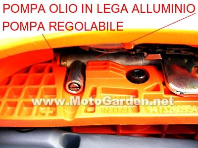 Oleo Mac 947 è dotata di pompa olio in lega di alluminio professionale, regolabile e con portata nulla al minimo, perfezione Emak.