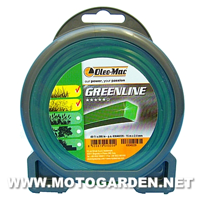 Filo Oleo Mac Green line 15m X 2.4mm quadro