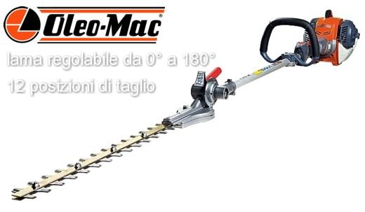 Tosasiepi lungo OleoMac BC240H è in grado di tagliare siepi di ogni tipo, utile per lavori impegnativi in altezza ed in parete.
