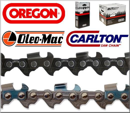Catene di ricambio per motoseghe, confezionate con misure standard come da descrizione. Marchi di qualità come Oregon, OleoMac, Carlton.