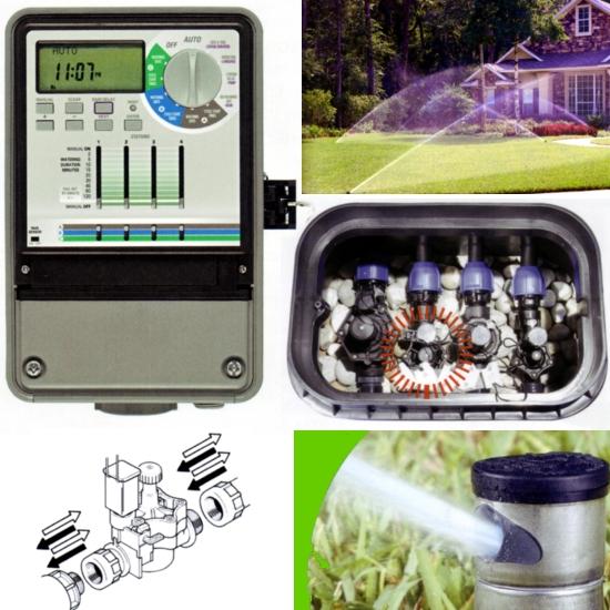 Centraline ed elettrovalvole, sistemi per l'irrigazione automatica a scomparsa, per il giardino di casa, aree verdi, parchi e zone pubbliche.