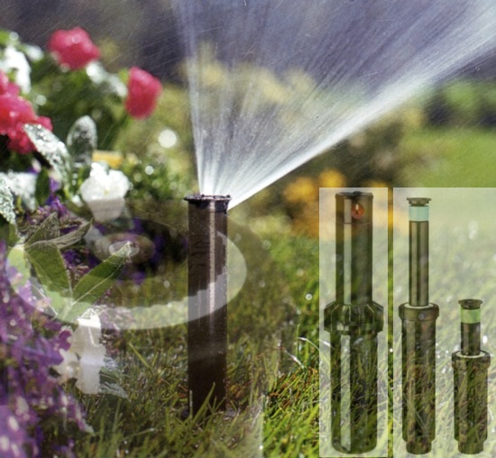 Irrigatori a scomparsa, sistemi per l'irrigazione automatica, per il giardino di casa, aree verdi, parchi e zone pubbliche.