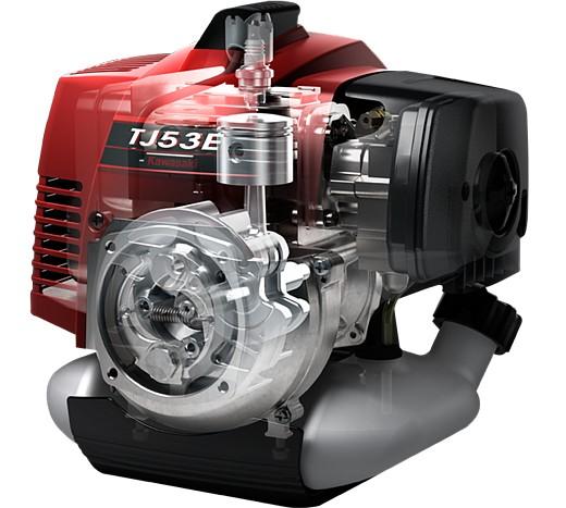 Tecnologia Kawasaki nei motori TJ53 impiegata su questo decespugliatore, massime prestazioni e minori consumi di carburante