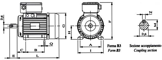 Disegno tecnico motore elettrico monofase