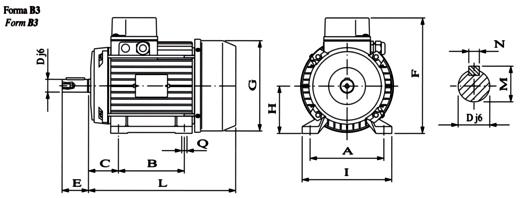 Disegno tecnico motore elettrico trifase
