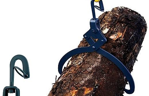 Pinza alza tronchi in acciaio per il sollevamento di tronchi di alberi.